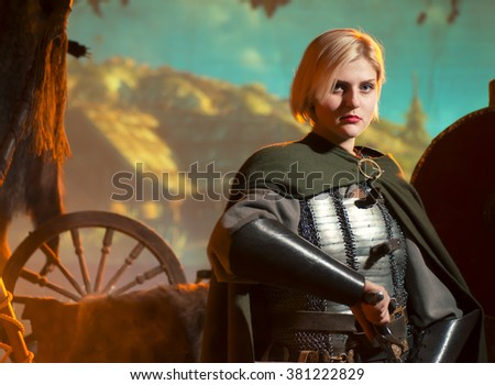 Stock Photo elf princess with sword in metal armor