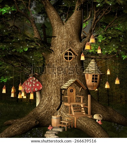 Stock Photo Elf tree house