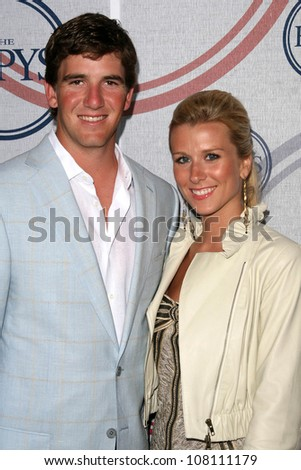 Eli Manning and wife Abigal  at the 2008 ESPY's Giant Event. J Bar and Lounge, Los Angeles, CA. 07-15-08