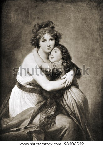 "Elisabeth Vigee-Lebrun ""Portrait of the artist and her daughter."" Reproduction from illustrated Encyclopedia ""Treasures of art"", Partnership «Prosvesheniye», St. Petersburg , Russia , 1906 - stock photo"
