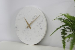 Elite white clock, Decorative wall clock, white marble wall clock, Natural granite stone, marbling, brass hour and minutes hand