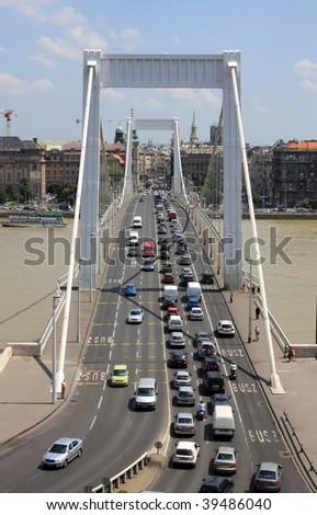 Elizabeth bridge in Budapest from hill Gellert - stock photo