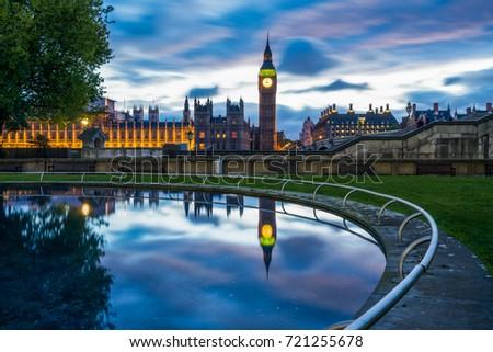 Elizabeth clock known as Big Ben at blue hour #721255678