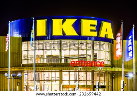 ELIZABETH, NJ, USA - NOVEMBER 23, 2014: IKEA store entrance. Founded in 1943, IKEA is the world\'s largest furniture retailer. IKEA operates 351 stores in 43 countries.