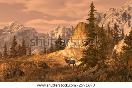 Elk In The Rocky Mountains / 15x24 painting / SW-012