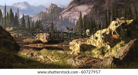 Elk near a stream in a Rocky Mountain landscape.
