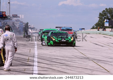 Elkhart Lake Wisconsin, USA - August 18, 2012: Road America Road Race, ALMS / IMSA GT race. American Le Mans Series Extreme Speed Motorsports, Scott Sharp, Johannes van Overbeek, Ferrari 458 Italia