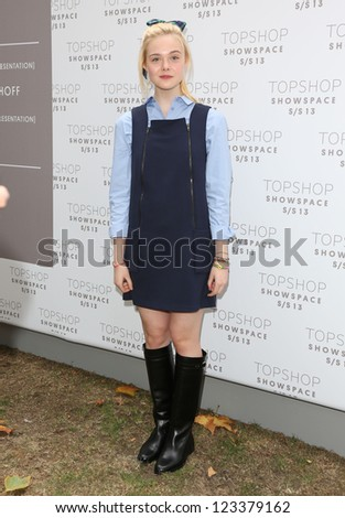 Elle Fanning arriving at the Unique catwalk show as part of London Fashion Week SS13, Top Shop Venue, Bedford Square, London. 16/09/2012 Picture by: Henry Harris