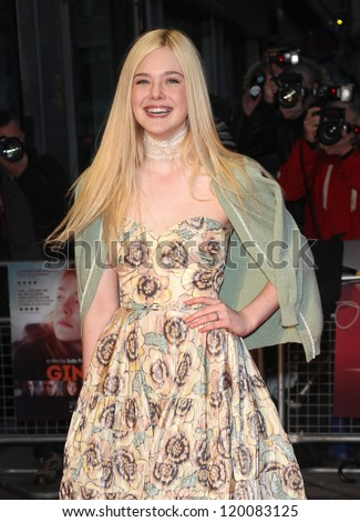 Elle Fanning arriving for the premiere of 'Ginger And Rosa' during the 56th BFI London Film Festival at Odeon West End, London. 13/10/2012 Picture by: Alexandra Glen