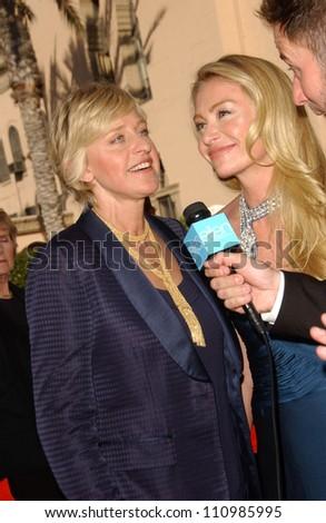 Ellen DeGeneres and Portia de Rossi arriving at the 59th Annual Primetime Emmy Awards. The Shrine Auditorium, Los Angeles, CA. 09-16-07
