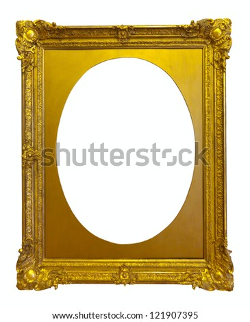 ellipse gold picture frame. Isolated over white background