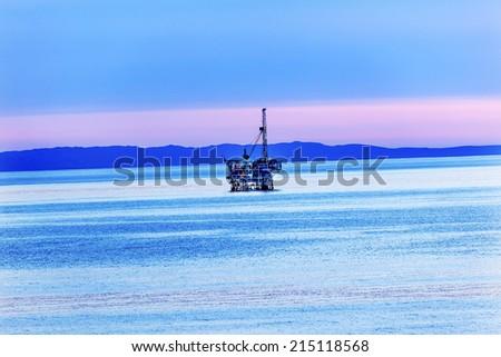 Ellwood Oil Well Offshore Platforms Coastline Pacific Ocean Pink Sunset Goleta California