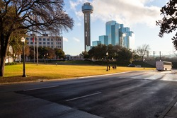 Elm Street in Dealey Plaza, Dallas, Texas. Site of President John Fitzgerald Kennedy assassination in 1963.