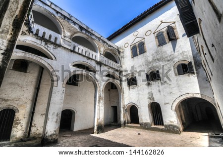 Elmina Castle (also called the Castle of St. George) is located on the Atlantic coast of Ghana west of the capital, Accra. It is part of the UNESCO World Heritage Site.