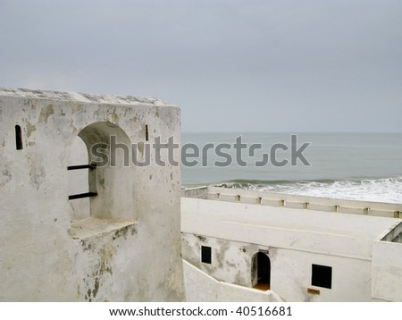 Elmina Castle was the exit port for slaves from Ghana in Africa. This shows the roof and battlements - stock photo