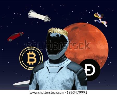 Elon Musk, Emperor of Mars, Elon Musk proclaims himself Emperor of Mars, cosmos and astronaut Сток-фото ©