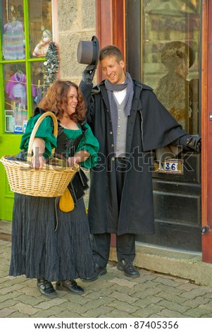 ELORA, ONTARIO - OCT 23: Actors in period costumes promote the quaint, historic downtown on October 23, 2011 in Elora, Ontario. Elora is renown for its 19th-century architecture and arts community.