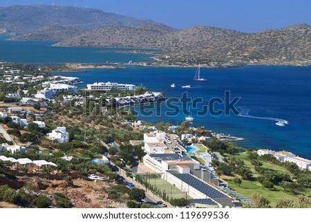 Elounda bay at Crete island in Greece. Area of Aghios Nikolaos, county of Lasithi.