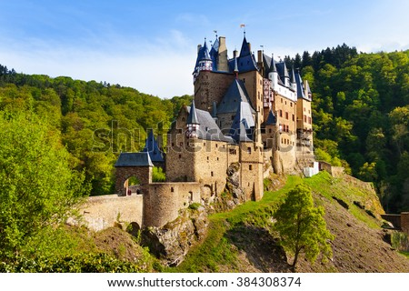 Eltz castle gates and fortification side view Muenstermaifeld, Mayen-Koblenz, Rhineland-Palatinate, Germany Europe
