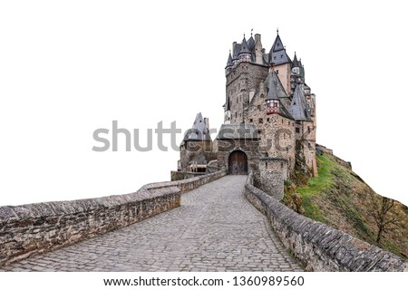 Eltz Castle (German: Burg Eltz) is a medieval castle nestled in the hills above the Moselle River between Koblenz and Trier, Germany.  Isolated on white background.