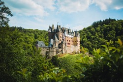 Eltz Castle in Western Germany. This picturesque castle is one of the most famous travel destinations in Germany.