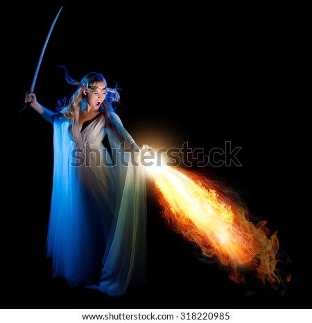 Stock Photo Elven girl with sword isolated