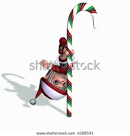 Elves Gone Wild 1. An elf doing a pole dance on a candy cane.  Christmas humor.