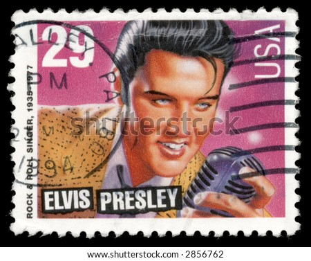 Elvis Presley on a stamp from 1993 - stock photo