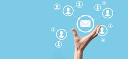 Email and user icon,sign,symbol marketing or newsletter concept, diagram.Sending email.Bulk mail.Email and sms marketing concept. Scheme of direct sales in business. List of clients for mailing
