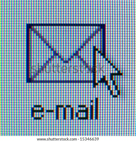 Email check icon on computer screen for web design. Envelope and mouse pointer.