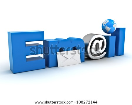 Email concept, word email with envelope, globe map and metal at sign on white background