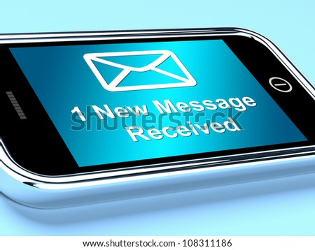 Email Envelope On Mobile Showing One Message Received - stock photo