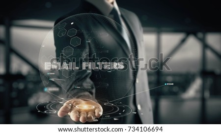 Email Filters with hologram businessman concept #734106694