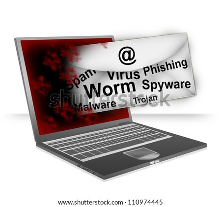 Email Fly Through The Computer Laptop Screen With Many Malicious Program Inside For Computer Network Spam Concept Isolated on White Background