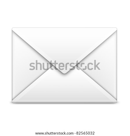 Email icon in white on isolated white background. 3D render image and part of icon series.