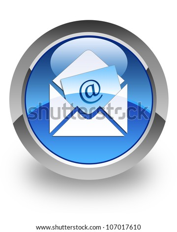Email icon on glossy blue round button