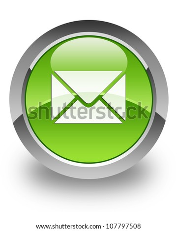 Email icon on glossy green round button - stock photo