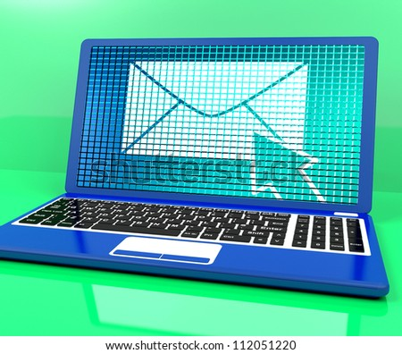 Email Icon On Laptop Shows Emailing Or Contacting