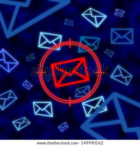 Email icon targeted by electronic surveillance in a blue cyberspace