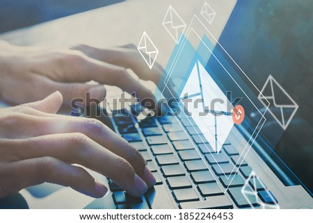 email inbox, online communication and e-mail marketing concept Zdjęcia stock ©