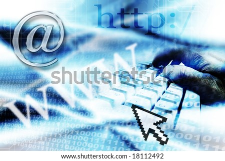 email, internet and computer symbols and icons with abstract blue binary background