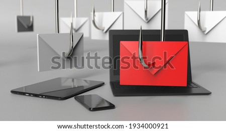 Email Phishing Cyber Security, Mobile Personal Devices Ransomware, Hackers 3d Illustration Stock photo ©