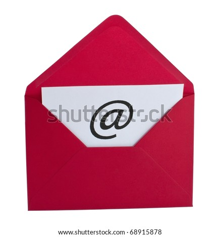 Email symbol in red envelope isolated on white