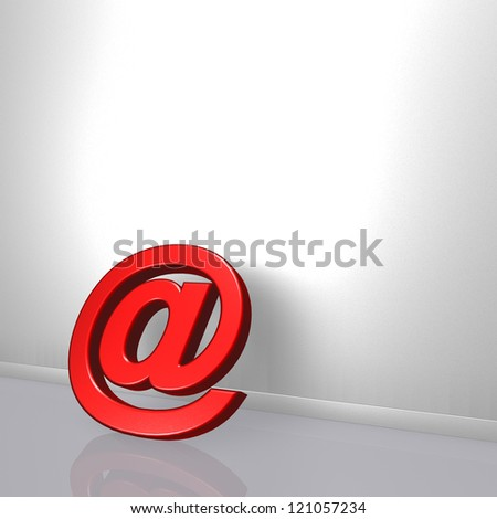 email symbol leans on white wound - 3d illustration