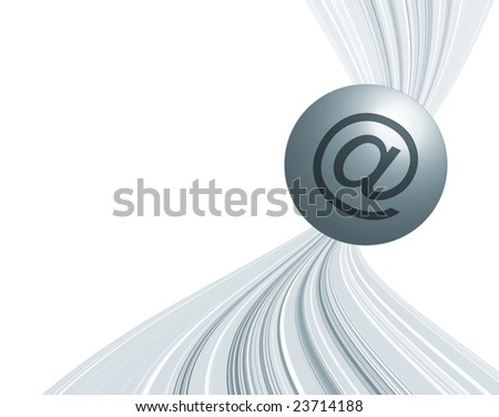 Email symbol on ball over toned stripe pattern