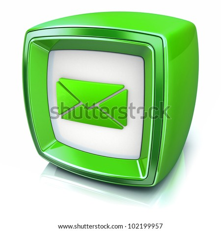 email symbol on green badge icon on white background. 3d render