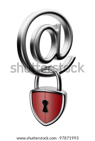 Email symbol with lock 3D. Concept of security. Isolated on white