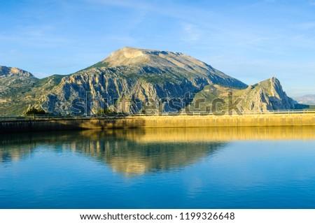 Embalse de la Encantada and Sierra de Huma, Guadalteba, Malaga, Andalusia, Spain, Iberian Peninsula