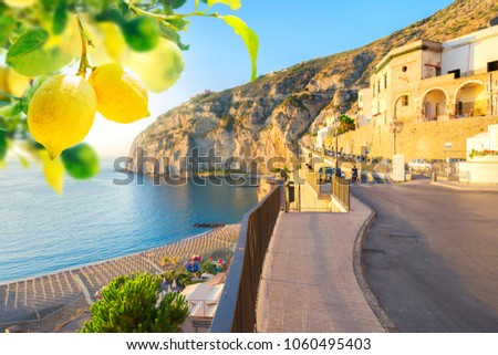 embankment and beach of Meta di Sorrento with lemons, southern Italy
