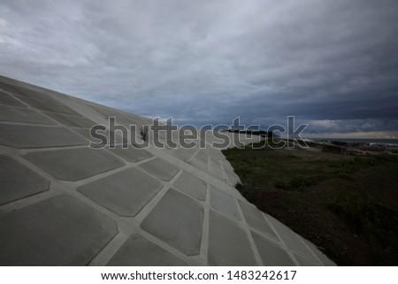 embankment(breakwater; seawall) against tsunami in Fukushima, Japan #1483242617